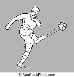 Soccer player man playing football jumping with ball. Vector black illustration on gray background