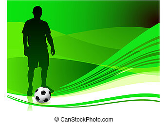 Soccer Player on Abstract Green Background