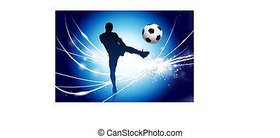 Soccer Player on Abstract Modern Light Background Original Illustration