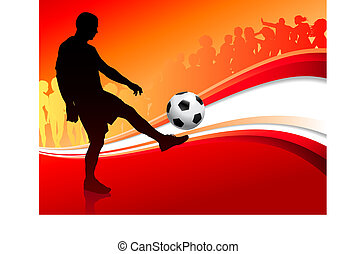 Soccer Player on Abstract Red Background Original Vector Illustration