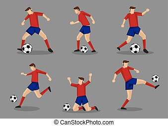 Soccer Player Passing and Dribbling Icon Set - Soccer player...