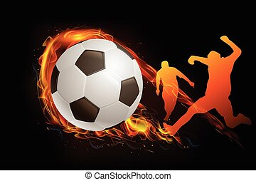 soccer player with ball fire background