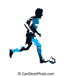 Soccer player running with ball, abstract blue isolated vector silhouette