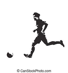 Soccer player running with ball, abstract vector silhouette