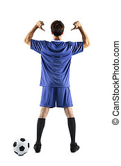 soccer player showing back number