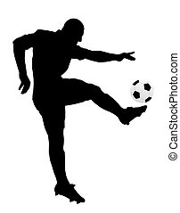 Silhouette of a soccer player. Isolated white background. EPS file available.
