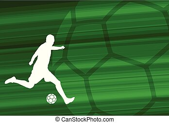 soccer player silhouette on the abstract background