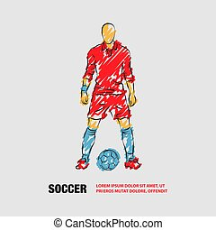 Soccer player stands near the ball and prepare for a kick. Vector outline of Soccer player with scribble doodles.