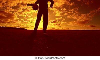 soccer player stuffing ball silhouette man kicks lifestyle...
