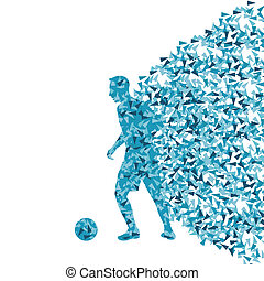 Soccer player vector background concept made of fragments