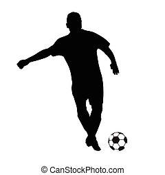 Soccer player vector silhouette. Running football player