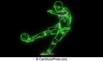 Soccer player with a graphic trail video - Soccer player...