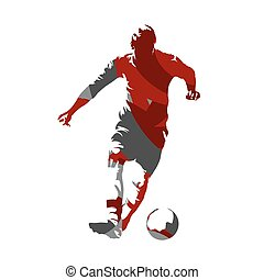 Soccer player with ball, abstract vector silhouette