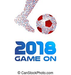 Soccer player with ball and 2018 typography