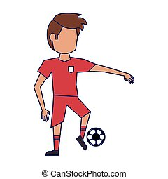 Soccer player with ball avatar blue lines