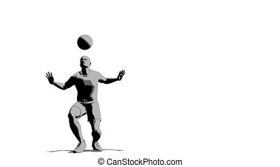 soccer player with ball by head