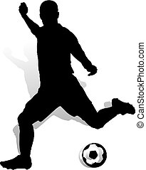 Soccer player with ball makes a punch, silhouette on white background,