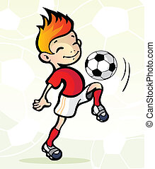 Soccer player with ball - Vector illustration of a soccer...