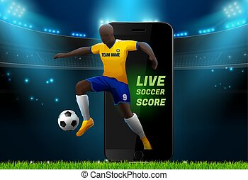 soccer player with field stadium background and mobile live
