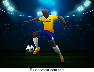 soccer player with field stadium background
