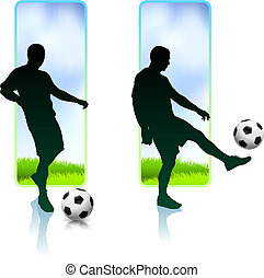 Soccer Player with Nature Banners