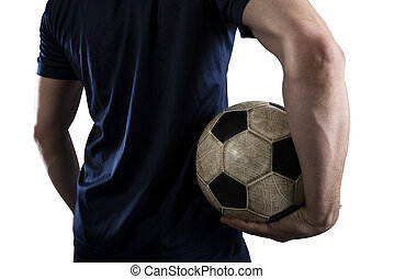 Soccer player with soccerball ready to play. Isolated on white background.