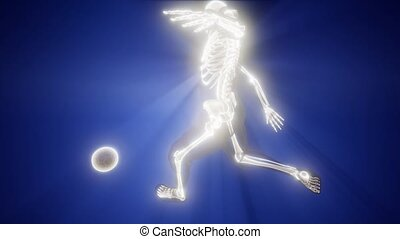 soccer player with visible bones