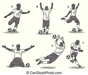 Soccer players black on a white background