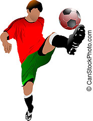 Soccer players. Colored Vector illustration for designers
