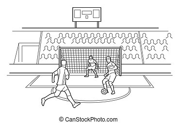 Soccer Players Defending The Gates. Spectators sit in the stands of the stadium. Vector black illustration on white background.
