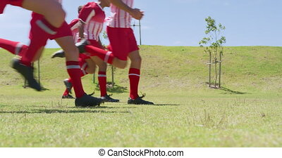 Soccer players exercising on field - Low angle side view of ...