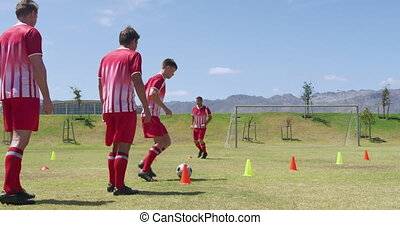 Soccer players exercising on field - Rear view of a group of...