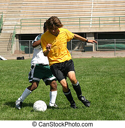 Soccer Players Fight for the Ball
