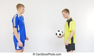 Soccer Players Flipping a Ball in White Background