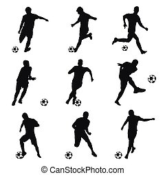 Soccer players, football players set. Collection of soccer silhouettes