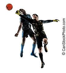 soccer players goalkeeper men isolated silhouette white backgrou