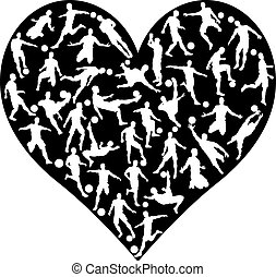 Soccer Players Heart - Soccer football player silhouettes...