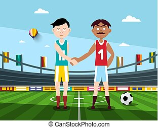 Soccer Players Holding Hands on Football Stadium. Vector Illustration.