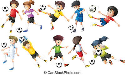 Soccer players - Illustration of the soccer players on a...