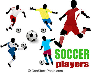Soccer players on white background. Vector illustration for designers
