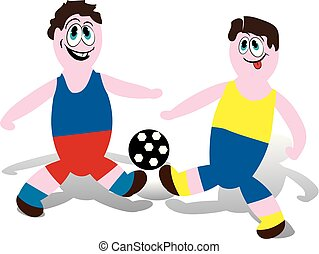 Soccer players playing with a ball, kick, (in blue and red shorts) cartoon on a white background,