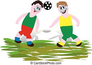 Soccer players playing with the ball, hitting the head, cartoon on a white background,