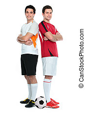 Soccer players standing back to back. Isolated on white...