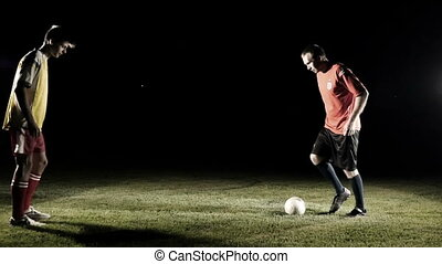 Soccer Players Start The Game Slow Motion