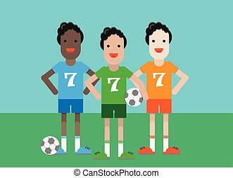 Soccer players with a ball