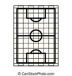 Soccer playfield top view symbol isolated in black and white