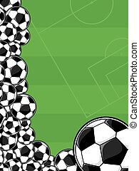 soccer playing field background - soccer balls border on...