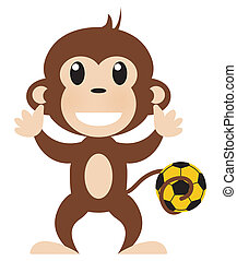 Soccer Playing Monkey Illustration Isolated on White with Clipping Path