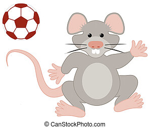 Soccer Playing Rat Illustration Isolated on White with Clipping Path