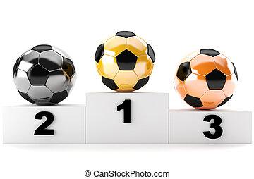 Soccer podium - 3d soccer balls of gold, silver, bronze